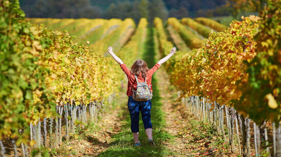 woman in the vineyards with hands up in the air